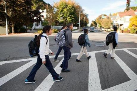 Students walked to the Roxbury Preparatory Charter School in October during the school bus driver strike.
